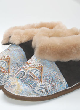 Чуни из натуральной овчины «Зимняя сказка»  коричневые
