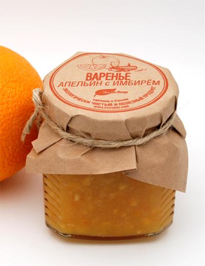 Варенье «Экосбор» из апельсина с имбирем 330гр