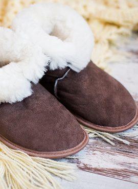 Чуни из натуральной овчины коричневые 35-40 размер