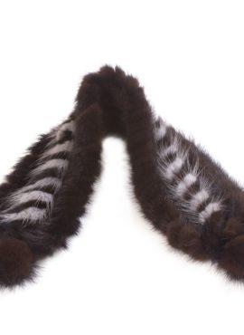 Повязка на голову из норки коричневая
