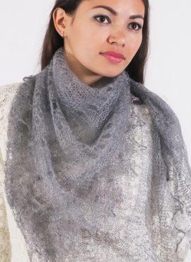 Пуховый платок «Паутинка» серый